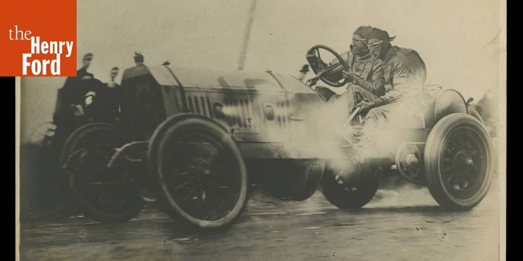 Locomobile Old 16 Race Car on Racetrack with Driver and Mechanic ...